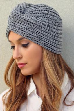 灰色交叉扭裹针织毛线帽