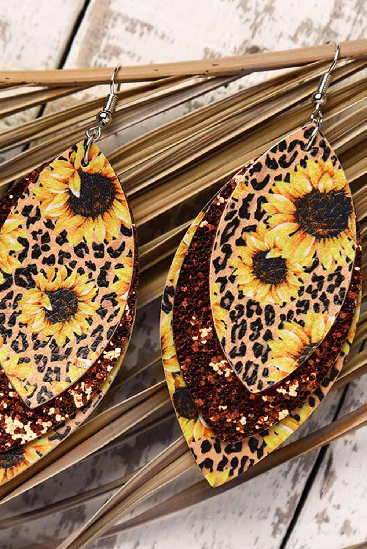 向日葵豹纹闪亮叶型多层皮革耳环 LC01298
