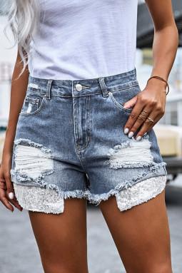 浅蓝色磨损毛边亮片口袋牛仔短裤