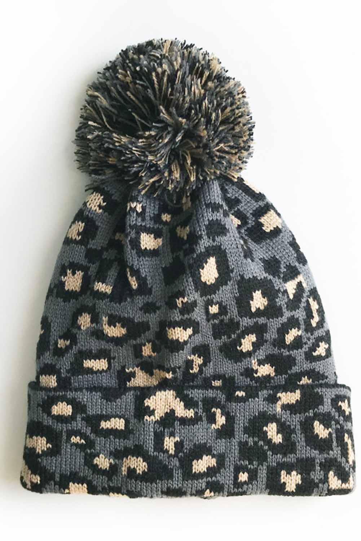 灰色豹纹绒球毛线帽 LC02113