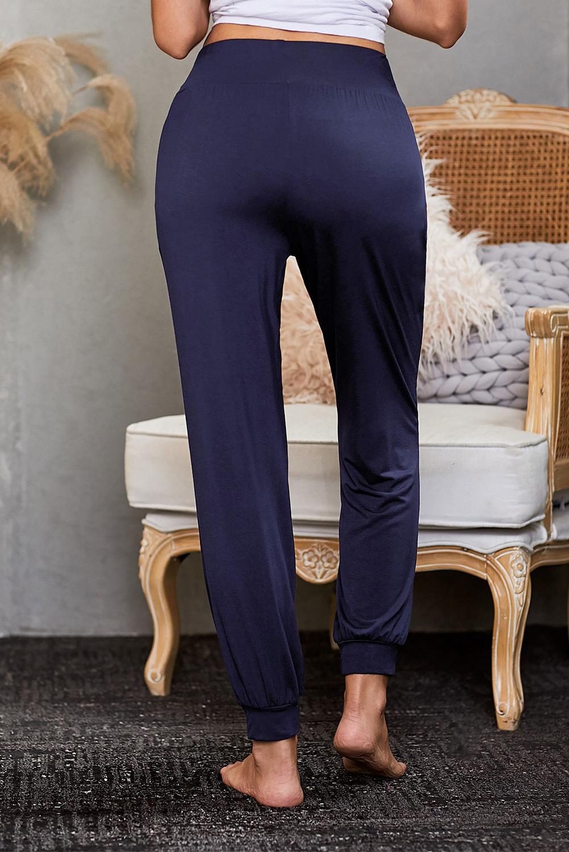 蓝色时尚宽腰轻便休闲哈伦裤 LC77372