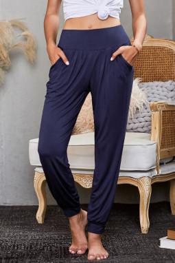 蓝色时尚宽腰轻便休闲哈伦裤