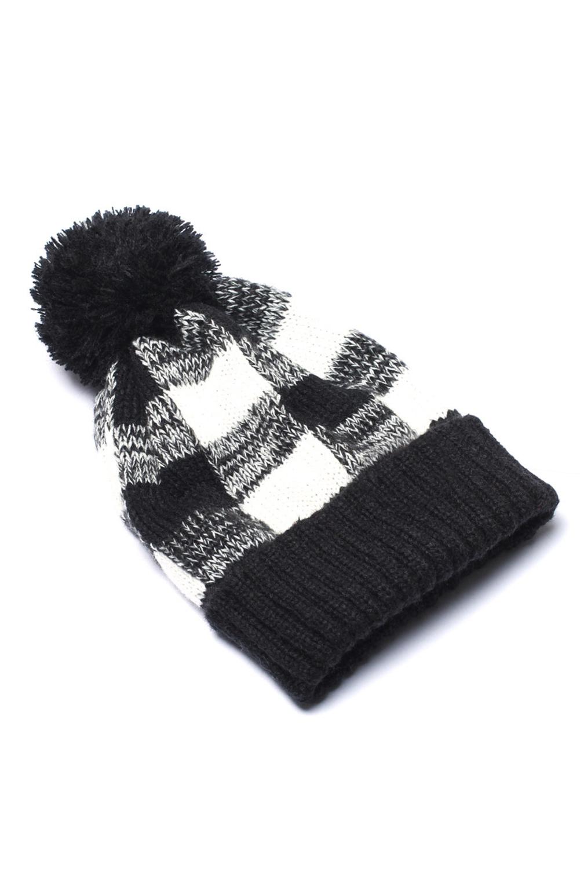 黑色格纹绒球针织毛线帽 LC02120