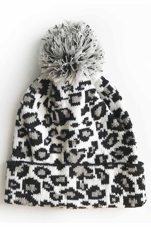 白色豹纹绒球毛线帽 LC02113