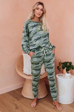 绿色迷彩长袖上衣抽绳长裤家居睡衣套装