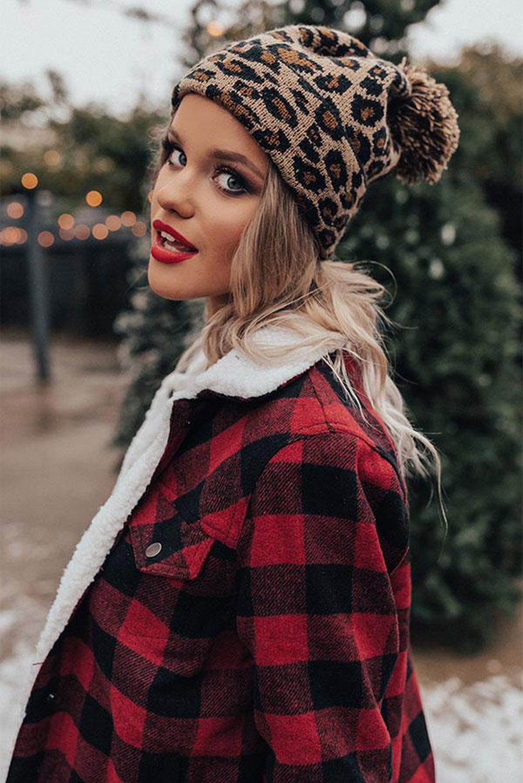 褐色豹纹绒球毛线帽 LC02113