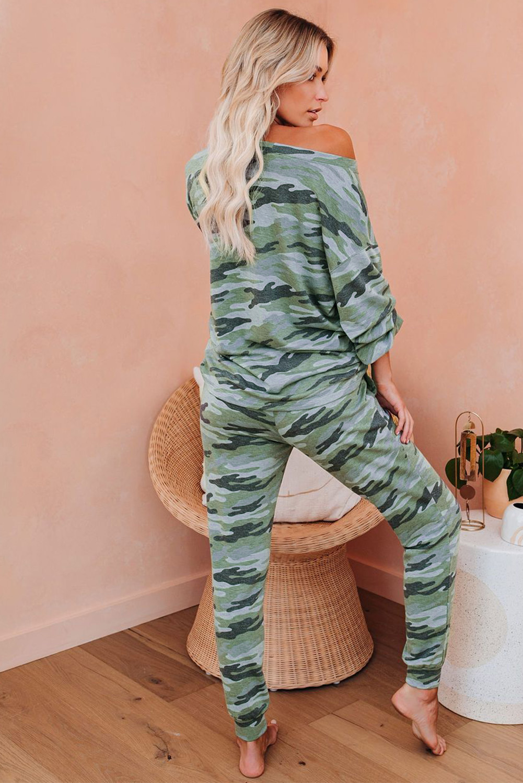 绿色迷彩长袖上衣抽绳长裤家居睡衣套装 LC451214