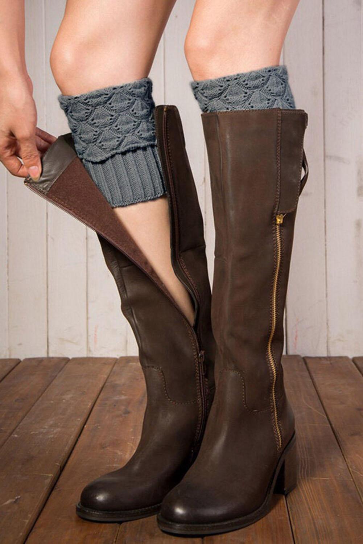 灰色针织腿部保暖套袜 LC09069