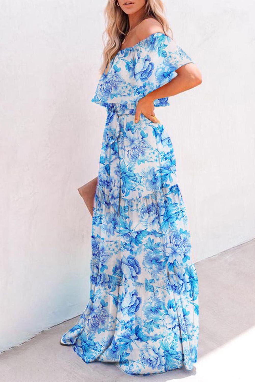 蓝色优雅花卉露肩式超长飘逸连衣裙 LC611848