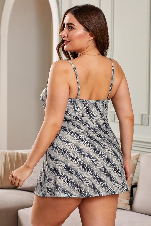 蛇纹印花蕾丝V领吊带大码睡衣连衣裙 LC31308