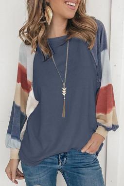 蓝色灯笼袖撞色套头宽松女士T恤上衣 LC2511695