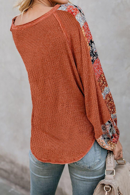 优雅花卉拼接长袖焦橙色宽松保暖针织上衣 LC2511428