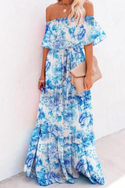 蓝色优雅花卉露肩式超长飘逸连衣裙