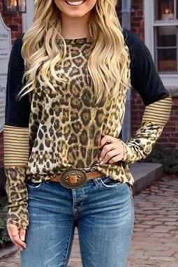 豹纹条纹拼接长袖时尚休闲女士T恤上衣