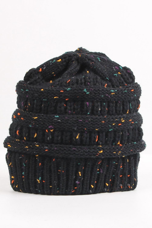 时尚斑点黑色针织毛线帽 LC02116