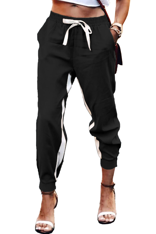 黑色抽绳绑带撞色条纹休闲束脚裤 LC77469