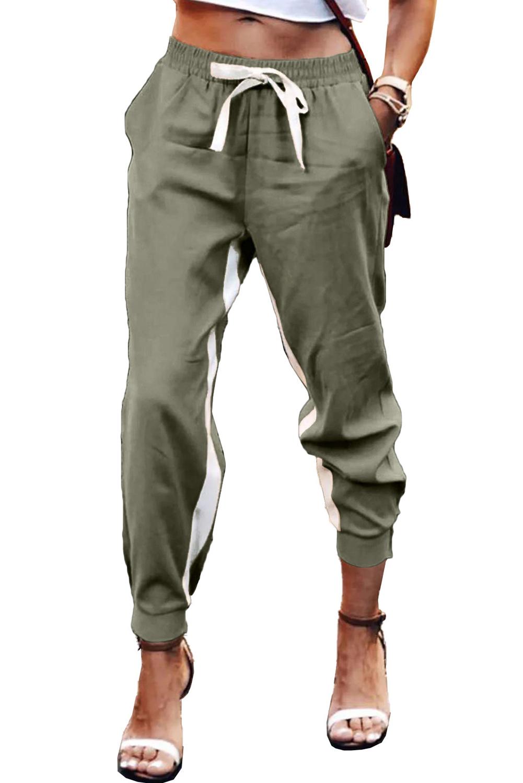 绿色抽绳绑带撞色条纹休闲束脚裤 LC77469