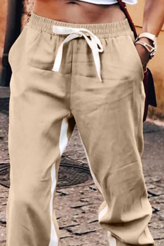 卡其色抽绳绑带撞色条纹休闲束脚裤 LC77469