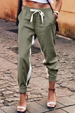 绿色抽绳绑带撞色条纹休闲束脚裤