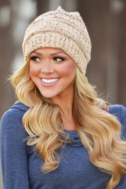 时尚斑点米色针织毛线帽