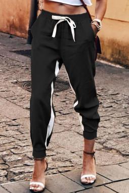 黑色抽绳绑带撞色条纹休闲束脚裤