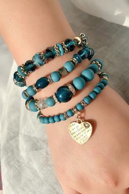 蓝色精美串珠仿珠宝时尚手链