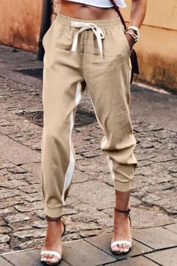 卡其色抽绳绑带撞色条纹休闲束脚裤