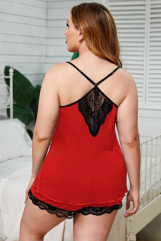 红色吊带蕾丝饰边加大码家居睡衣套装 LC35108