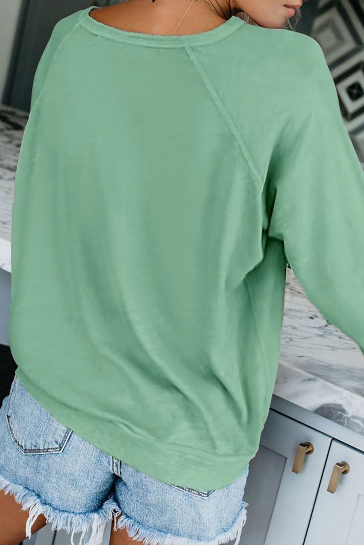 草绿色圆领长袖休闲舒适套衫卫衣 LC252459