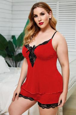 红色吊带蕾丝饰边加大码家居睡衣套装