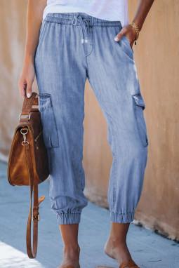 天蓝色抽绳绑带功能侧口袋休闲裤