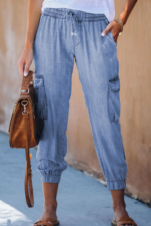 天蓝色抽绳绑带功能侧口袋休闲裤 LC77454