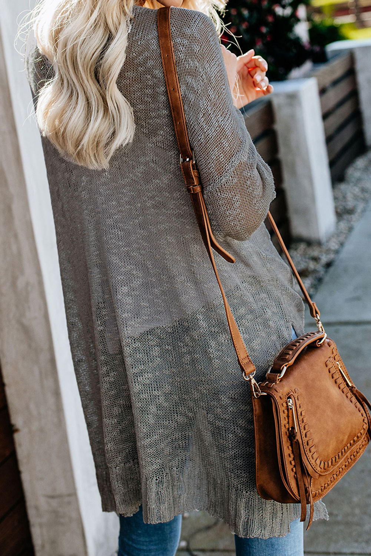 灰色宽松轻质V领排扣透视针织长袖开衫 LC271026