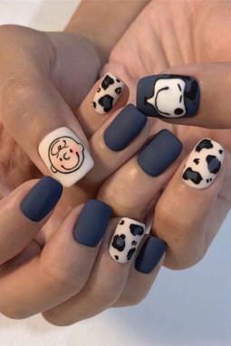 可爱卡通豹纹图案假指甲