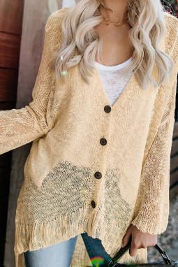 杏黄色宽松轻质V领排扣透视针织长袖开衫