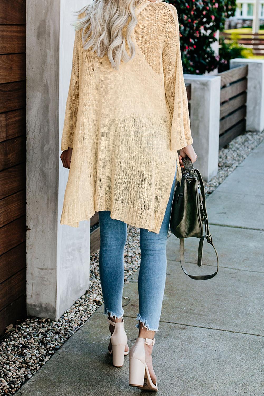 杏黄色宽松轻质V领排扣透视针织长袖开衫 LC271026