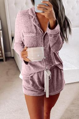 粉色休闲翻领排扣长袖短裤睡衣便服两件套