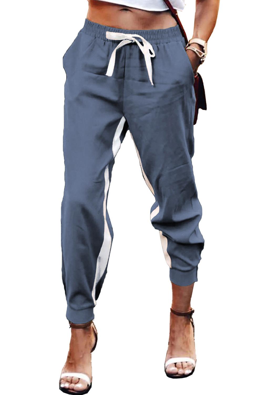 蓝色抽绳绑带撞色条纹休闲束脚裤 LC77469