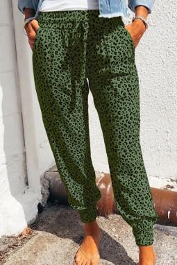 绿色豹纹抽绳宽腰束脚运动休闲裤