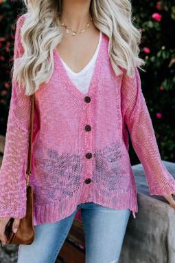 粉色宽松轻质V领排扣透视针织长袖开衫
