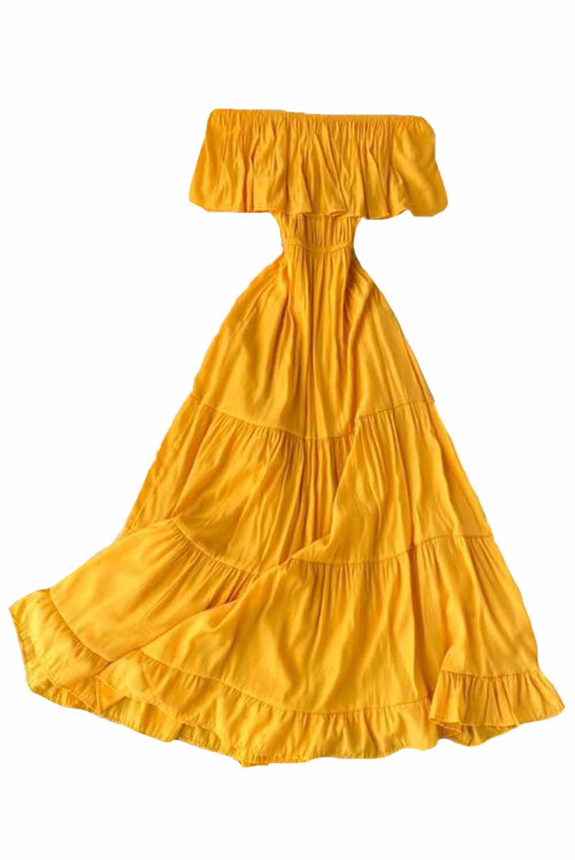 黄色优雅露肩分层百褶飘逸长裙 LC612028