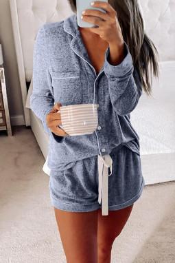 蓝色休闲翻领排扣长袖短裤睡衣便服两件套