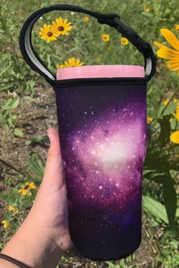 紫色梦幻银河印花杯套