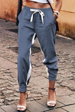 蓝色抽绳绑带撞色条纹休闲束脚裤