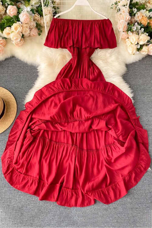 红色优雅露肩分层百褶飘逸长裙 LC612028