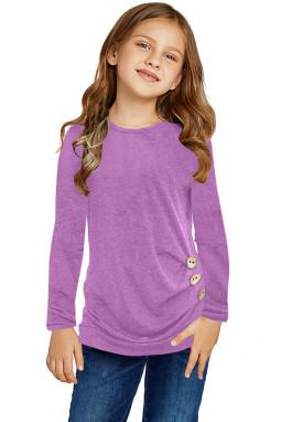 紫色圆领小女孩长袖侧纽扣细节舒适上衣