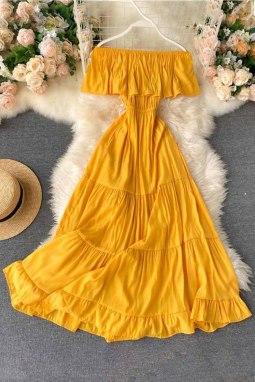 黄色优雅露肩分层百褶飘逸长裙