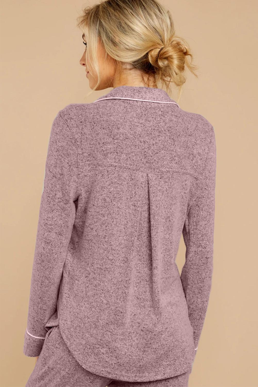 粉色休闲翻领排扣长袖短裤睡衣便服两件套 LC451005