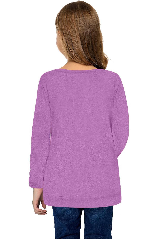 紫色圆领小女孩长袖侧纽扣细节舒适上衣 TZ25122