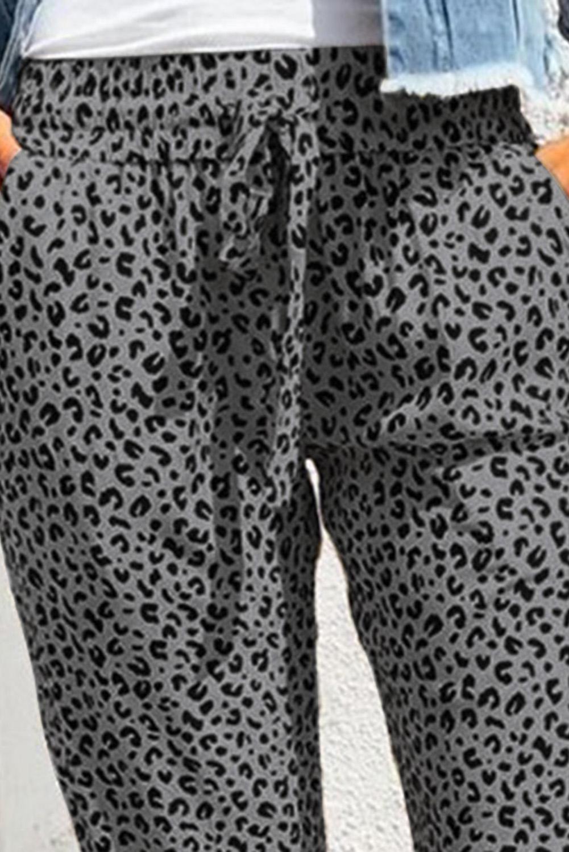 灰色豹纹抽绳宽腰束脚运动休闲裤 LC77171